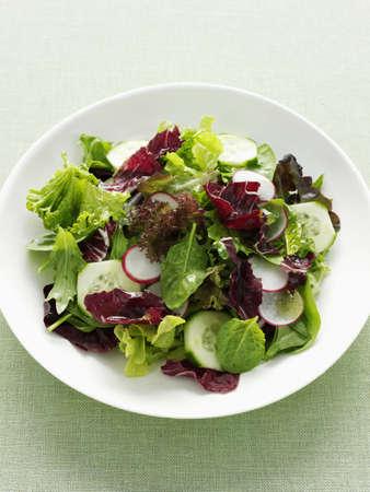 Plate of radish and cucumber salad