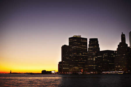 New York buildings lit up at night LANG_EVOIMAGES