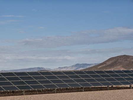 carbon neutral: Solar panels under blue sky