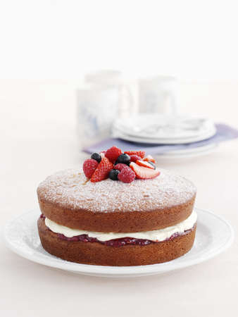 Plate of fruit and cream cake LANG_EVOIMAGES