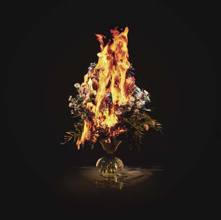 burned out: Vase of burning flowers LANG_EVOIMAGES