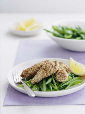 Plate of oat crusted chicken LANG_EVOIMAGES