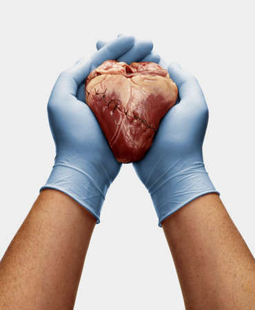 Gloved hands holding stitched heart