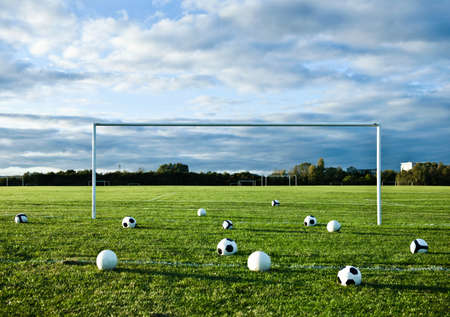 Footballs on empty pitch LANG_EVOIMAGES