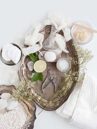 Bandeja con cal, piedra pómez, plantas y tijeras
