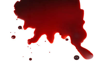 Blood spattered against white background