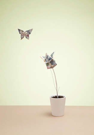 Origami butterfly and yen banknote in plant pot