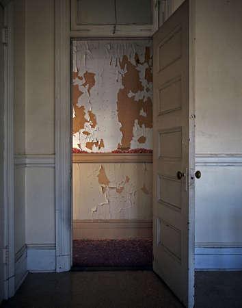 dilapidation: Paint peeling from wall seen through doorway