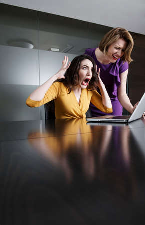 partitions: Two business executives reacting in shock at laptop