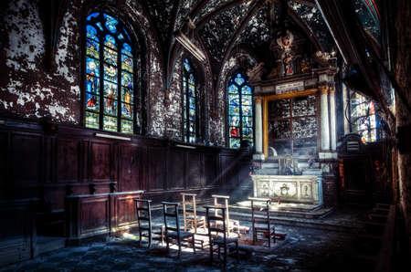 Sunbeams in abandoned church