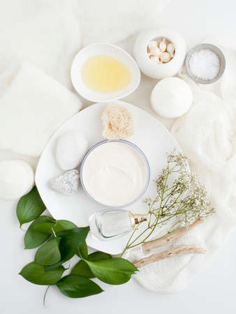 Plate with skin cream,plants and leaves LANG_EVOIMAGES