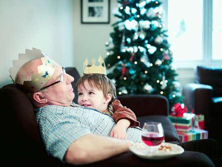 grampa: Grandson looking at grandfather asleep LANG_EVOIMAGES