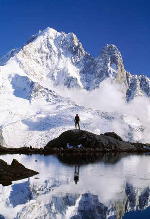 Hiker,Les Drus,Lac Blanc,Chamonix region,Alps,France LANG_EVOIMAGES