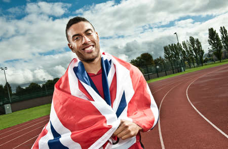 Sprinter wrapped in Union flag on sportstrack LANG_EVOIMAGES