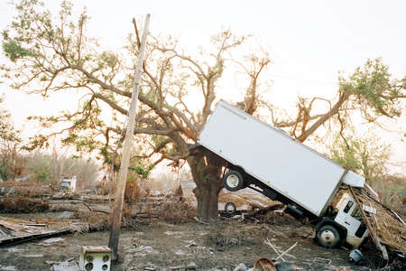 Truck hanging in tree,aftermath of Hurricane Katrina,Plaquemines Parish,Louisiana,USA LANG_EVOIMAGES