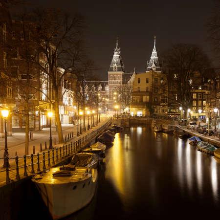 traditionally dutch: The Rijksmuseum (Dutch National Museum) from Spiegelgracht,Amsterdam,Netherlands