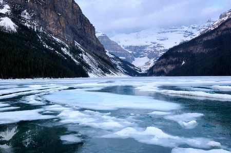 View over Lake Louise towards Mount Victoria,Banff National Park,Alberta,Canada