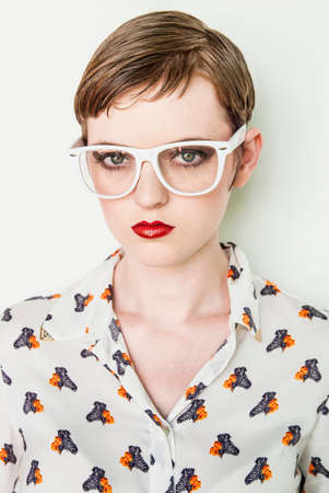 puckered lips: Girl wearing patterned blouse