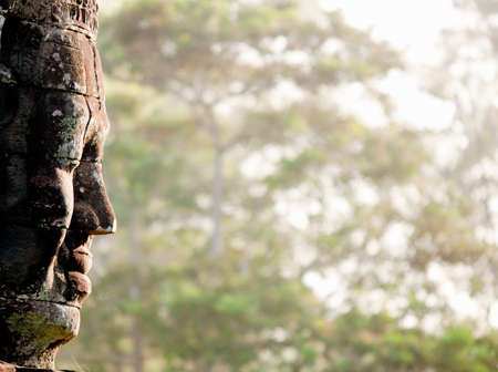 A stone face built into the Bayon Temple at Angkor,Cambodia