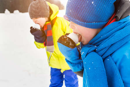 silliness: Two boys licking snowballs