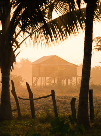 A stilted house in rural countryside,Siem Reap Province,Cambodia