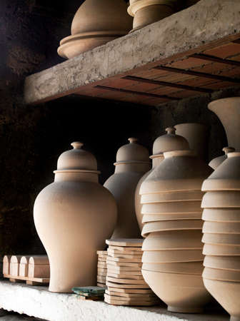 Pottery waiting to be decorated at an artisanal workshop in Fes,Morocco