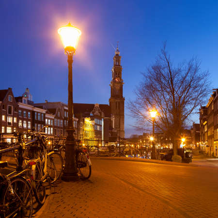 traditionally dutch: Westerkerk (Western Church) from Leliegracht in Amsterdam,Netherlands LANG_EVOIMAGES