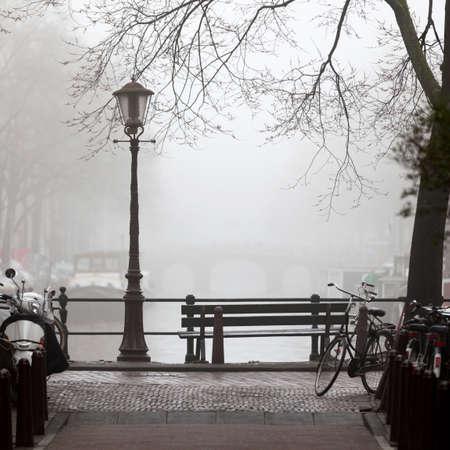 traditionally dutch: Mist in Amsterdam,Netherlands