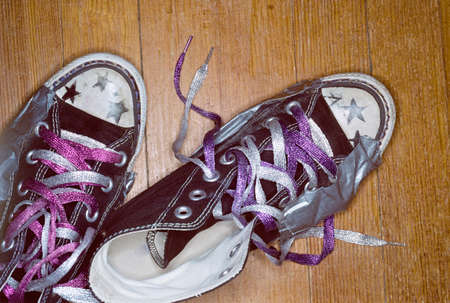personalised: Girls shoes with metallic laces