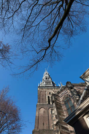 traditionally dutch: De Oude Kerk (The Old Church) in Amsterdam,Netherlands