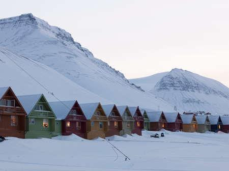 spitsbergen: Colourful houses line the streets of Longyearbyen,the largest settlement in the Svalbard archipelago in the Arctic Circle,in Spitsbergen,Norway