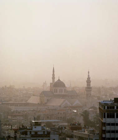 negative area: The skyline of the old city,with the ancient Ummayad Mosque,in Damascus,Syria LANG_EVOIMAGES