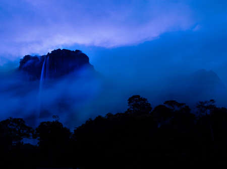 Angel Falls waterfall,the tallest in the world at 979m,falls from Auyantepui mountain at dusk in Canaima National Park,Venezuela