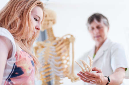 Woman showing teenager metacarpals on anatomical model LANG_EVOIMAGES
