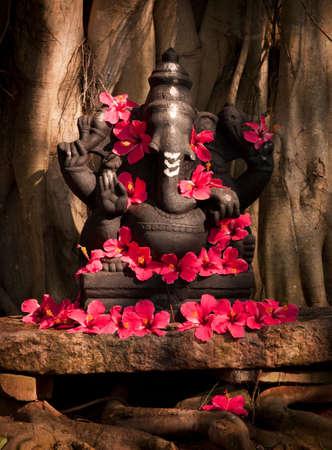 A statue of Ganesha adorned with flowers near Trivandrum (Thiruvananthapuram),Kerala,India