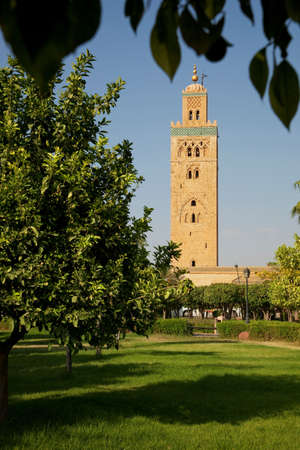 The minaret of the Koutoubia Mosque seen from Parc Lalla Hasna,in Marrakech,Morocco LANG_EVOIMAGES