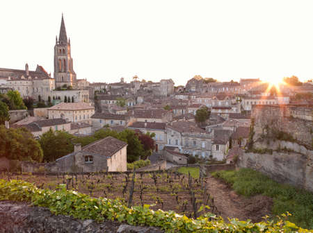 urban idyll: A vineyard overlooking the church and town of Saint Emilion,France LANG_EVOIMAGES