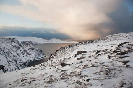 The landscape at North Cape (Nordkapp),often described as the most northerly point in Europe,in northern Norway