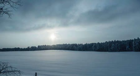 vacant land: Sunlight over wintry landscape,Lenggries,Bayern,Germany