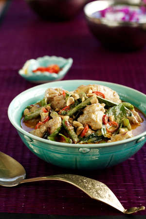 Penang chicken curry  with peanuts,chillies,snakebean and basil