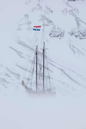spitsbergen: The Noorderlicht,a Dutch Schooner. Each year the Nooderlicht is frozen into the ice in Spitsbergen,and serves as an excellent base camp in the wilderness,perfect for spotting polar bears