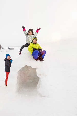 well made: Two children sitting on top of igloo,boy standing beside it