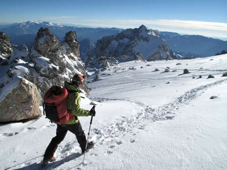 Woman at White Rocks on Aconcagua (6292m),  in the Andes Mountains,Mendoza Province,Argentina