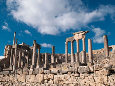 Ancient Roman city of Dougga,a UNESCO World Heritage Site in northern Tunisia LANG_EVOIMAGES