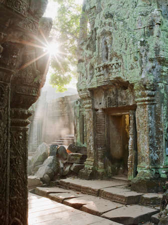 phrom: Sunrise in a temple at Angkor,Siem Reap Province,Cambodia LANG_EVOIMAGES
