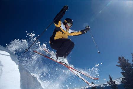 exhilarating: Skier jumping,Breckenridge,Colorado,USA
