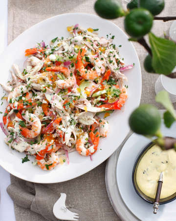 red onions: Plate of salad with turkey,prawns and celery LANG_EVOIMAGES