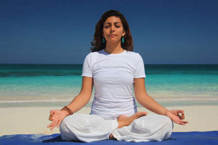 sleeve: Young woman doing yoga lotus pose,Paradise Island,Nassau,Bahamas