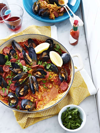 Dish of seafood jambalaya with mussels and rice LANG_EVOIMAGES