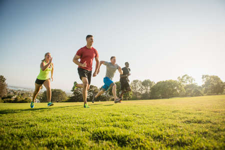 Group of young adults on training run in field LANG_EVOIMAGES